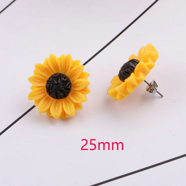 New Sunflower Earrings Stainless Steel Stud 15mm 18mm Resin Cabochon Earrings for Women