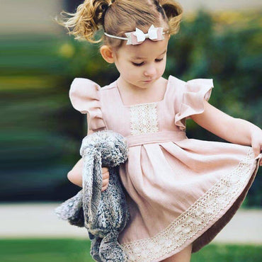 Bear Leader Stitching Lace Fly Sleeve Light Pink Girl Dress