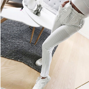 New Women Pants Striped High Waist