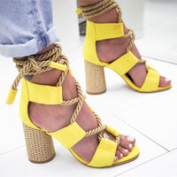 Women Sandals Lace Up Pointed Fish Mouth Gladiator Sandals