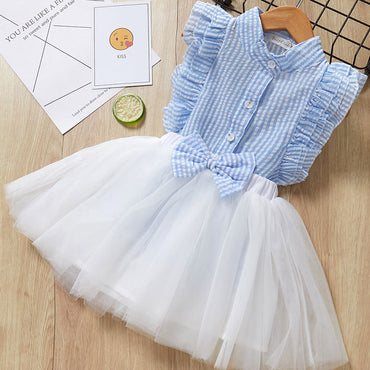 New Casual Style Short Sleeve Stripe Mesh Cotton Girl Dress