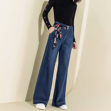 Women Denim High Waist Jeans Wide Leg Pants