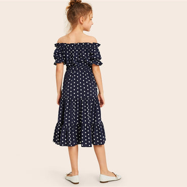 Kiddie Navy Off The Shoulder Polka Dot Frill Girls Cute Dress