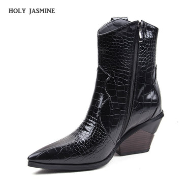 Women Autumn Winter Fashion Cowgirl Boots Western Pointed Toe Leather Heel Boots