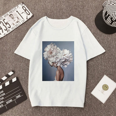 Women Vogue Print Casual T-shirt Flowers Feather Short Sleeve O-neck Loose Tops