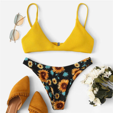 Thin Strap Plunge Neck Top Floral Print High Cut Bikini Set