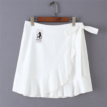 Sexy Mini Skirt Fashion Women Solid Ruffles Bandage Lace Up