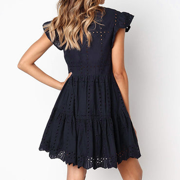 Hollow Out Ruched A-Line Ruffles Mini Dress