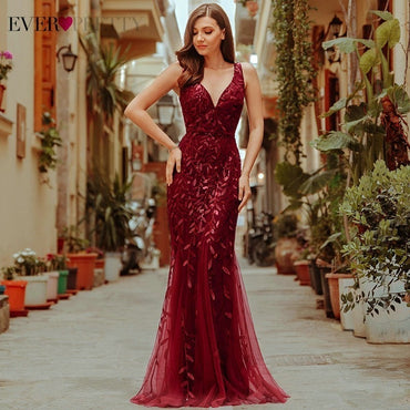 Burgundy Evening Dress V-Neck Mermaid Sequined Elegant Party Dress