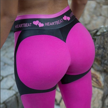 High Waist  Fitness Legging Women Heartbeat Print
