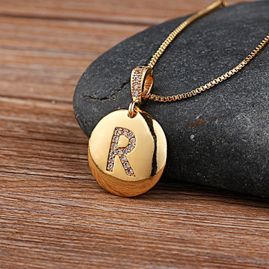 Women Girls Initial Letter Necklace Gold 26 Letters Charm Necklaces