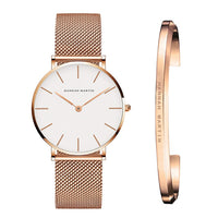 Stainless Steel U-shape Bracelet Watches Set Female High Quality Quartz