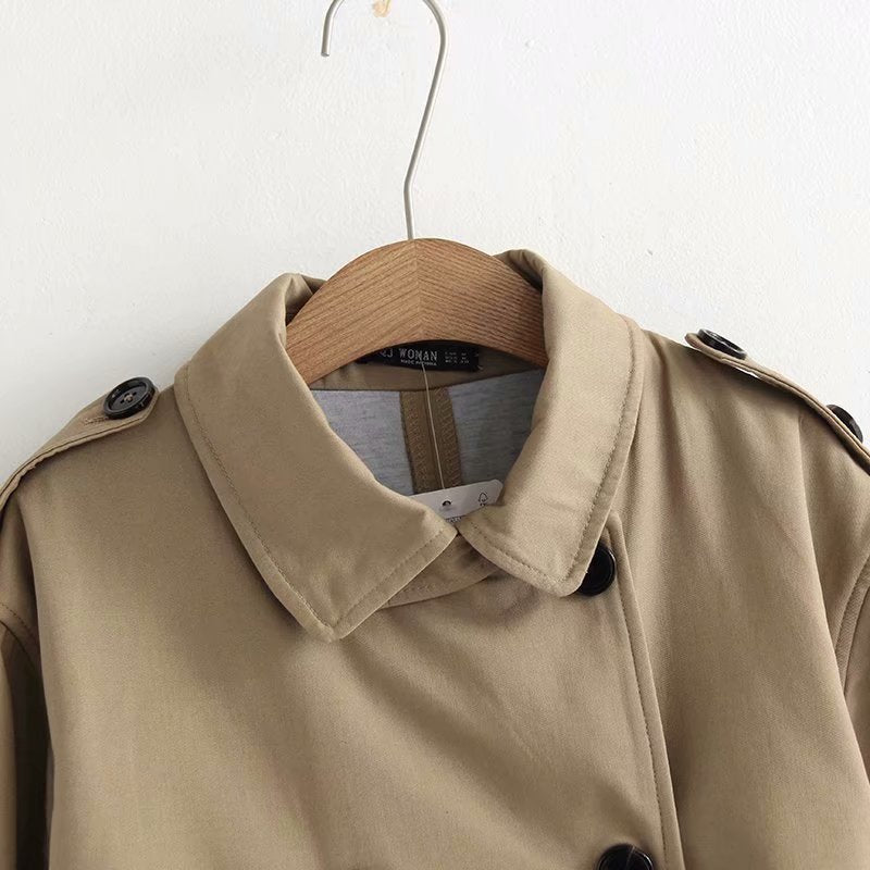 Women Casual Solid Color Double Breasted Outwear Sashes Chic Epaulet Design Long Trench Coat