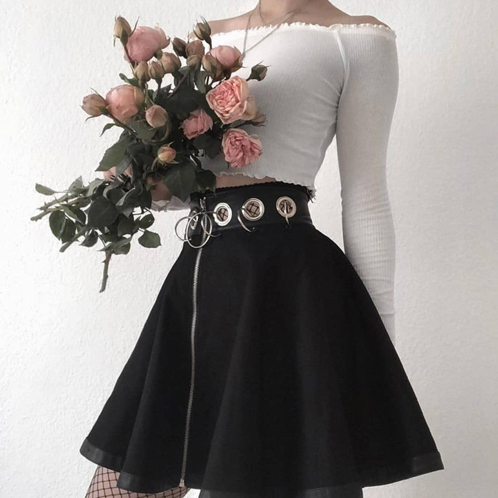 Saias Femininas Elegante Steampunk Skirts Womens Party Gothic Punk Black