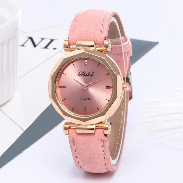 Fashion Women Leather Crystal Wristwatch