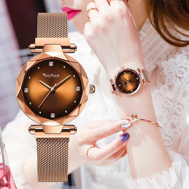 Luxury Starry Sky Magnet Band Rose Gold Diamond Women Wristwatch
