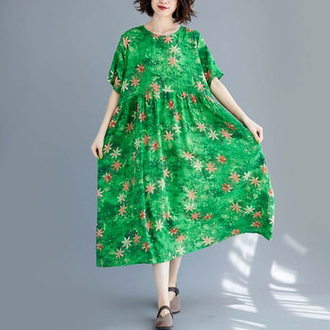 Plus Size 4XL Boho Green Dress Women Short Sleeve Vintage Loose Casual