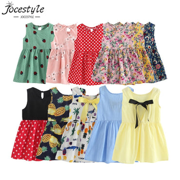 Sleeveless Flower Print Cotton and Linen Floral Girl Dress