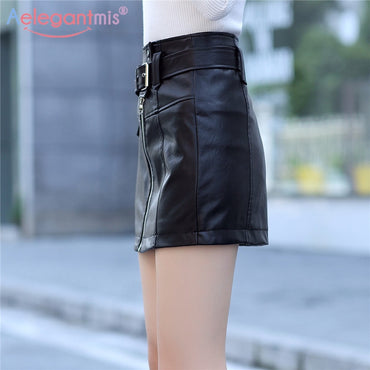 Spring Summer New Slim High Waist Women Pu Leather Skirt