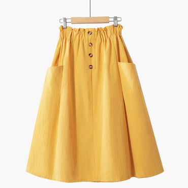Button Midi Skirt Women Spring Summer Casual elegant High Waist pocket skirt