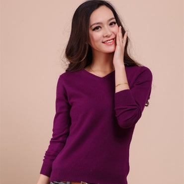 Autumn Winter Fashion Women Sexy V-neck candy color Sweater
