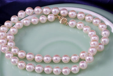Elegan8.5-9mm AKOYA white round pearl necklace 18inch14k