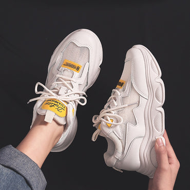 Women's Chunky Sneakers Fashion Platform Lace Up Breathable Air Vulcanize Shoes