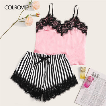 Eyelash Lace Satin Cami With Striped Shorts Women Sexy Lingerie Set