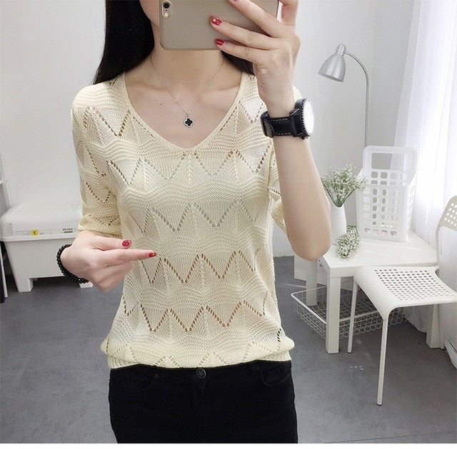 Hook Flower Hollow V neck Women Knitted Sweater Ice silk