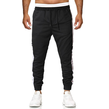 Men Pants For Men Casual Drawstring Full-Length Patchwork Trousers Loose Straight Pants