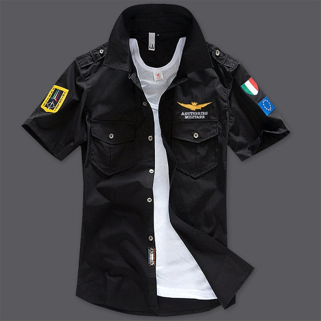 New Men's Shirts Short Sleeve Summer Beach Embroidered Tops High Quality Military Cotton Air Force One MA Casual Shirts 6XL