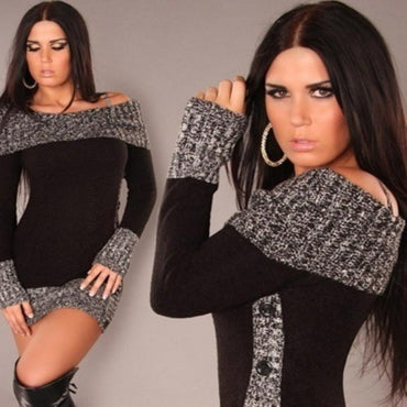 Sexy Noble Women Sweater Slash Neck Long Pullover