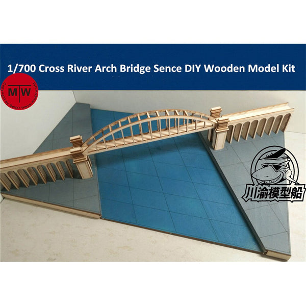 1/700 TMW Arched River Bridge Scene Wood Kit