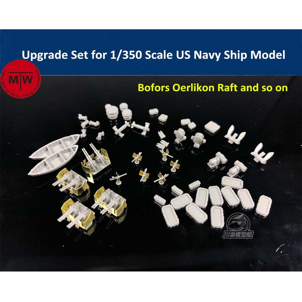 1/350 TMW Upgrade Set for WWII US Navy Ships (Bofors Oerlikon Raft Lifeboat Anchor)