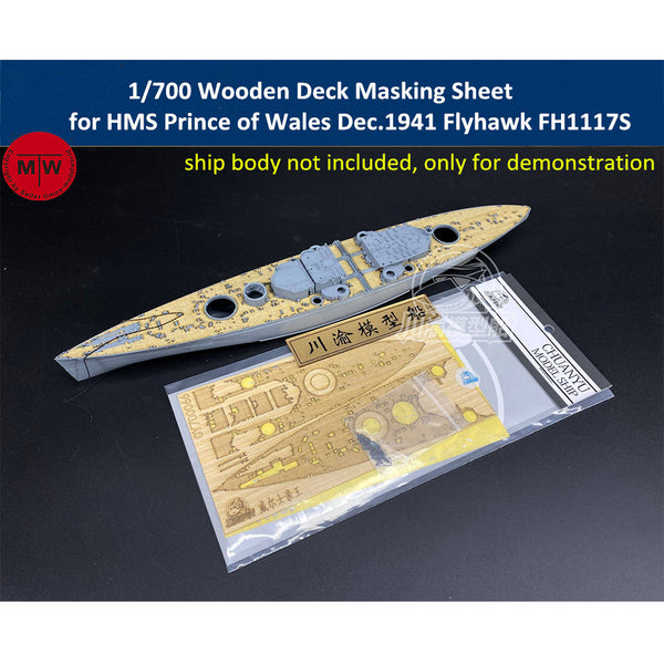 TMW 1/700 Wooden Deck Masking Sheet for Flyhawk FH1117S HMS Prince of Wales Dec. 1941 Ship Model