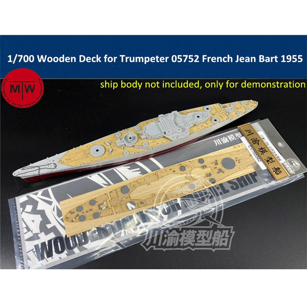 TMW 1/700 Wooden Deck for Trumpeter 05752 French Battleship Jean Bart 1955 Model