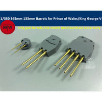 TMW 1/350 365mm & 133mm Brass Barrels for Tamiya 78010 78011 Prince of Wales/King George V Model