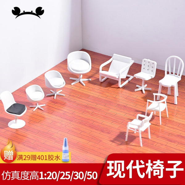 5 Pack Dollhouse/Diorama/Architectural Model Chairs 1:20, 1:24/ 1:25, 1:30 scale