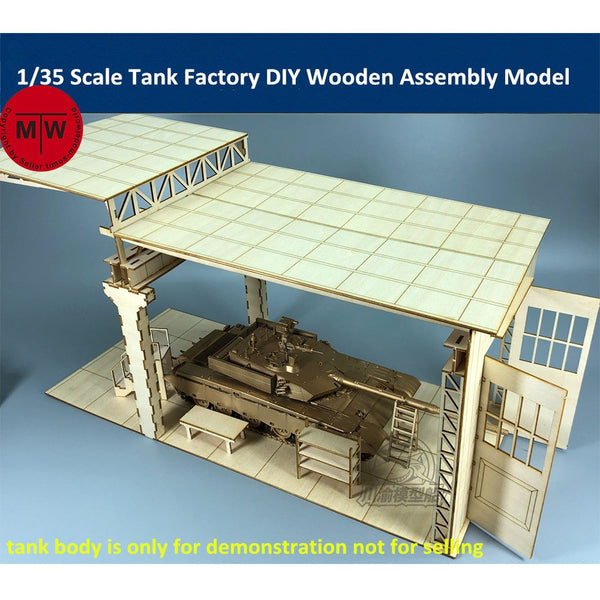 1/35 Tank Factory / Repair Shop Diorama Base Laser Cut Wood Kit
