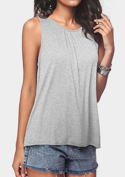Solid O-Neck Casual Tank