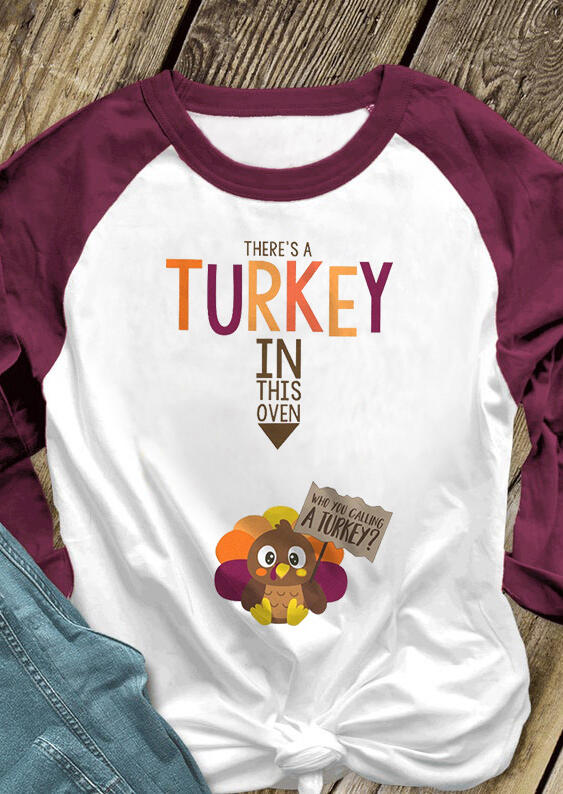 Women There's A Turkey In This Oven T-Shirt Tee - White