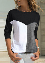 Color Block Splicing O-Neck T-Shirt Tee without Necklace - White