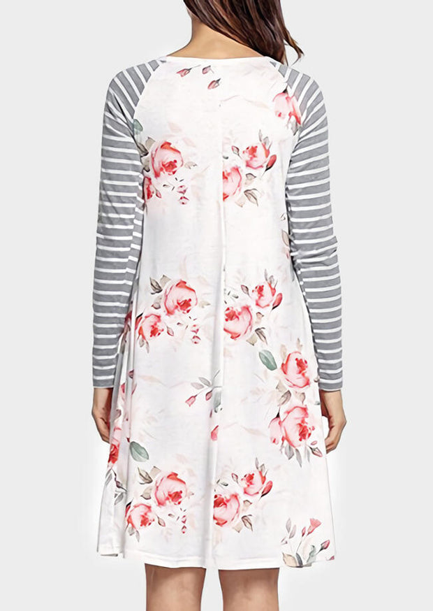 Floral Striped Splicing O-Neck Casual Dress - White
