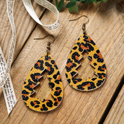 Leopard Printed Hollow Out Christmas Tree Earrings