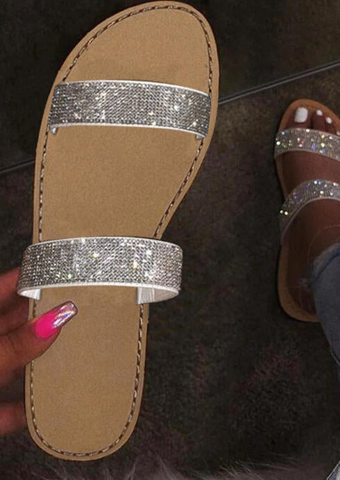 Fashion Rhinestone Flat Slippers - Silver