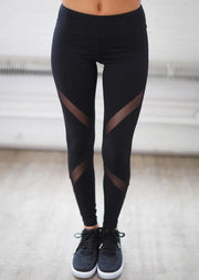 Presale - Mesh Splicing Yoga Fitness Activewear Leggings - Black