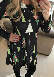 Christmas Tree Printed Long Sleeve Dress