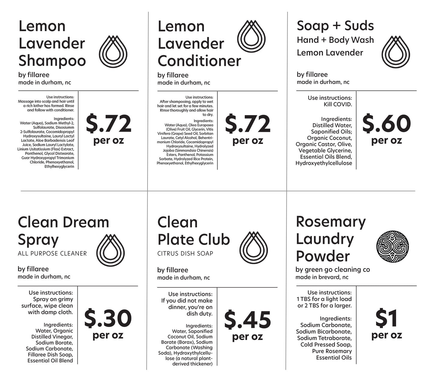 Bulk Refill Natural Shampoo, Conditioner, Body Wash, Laundry Powder, Dish Soap, and All-purpose Cleaner