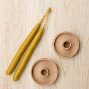 Juno pottery candle holders with beeswax tapers