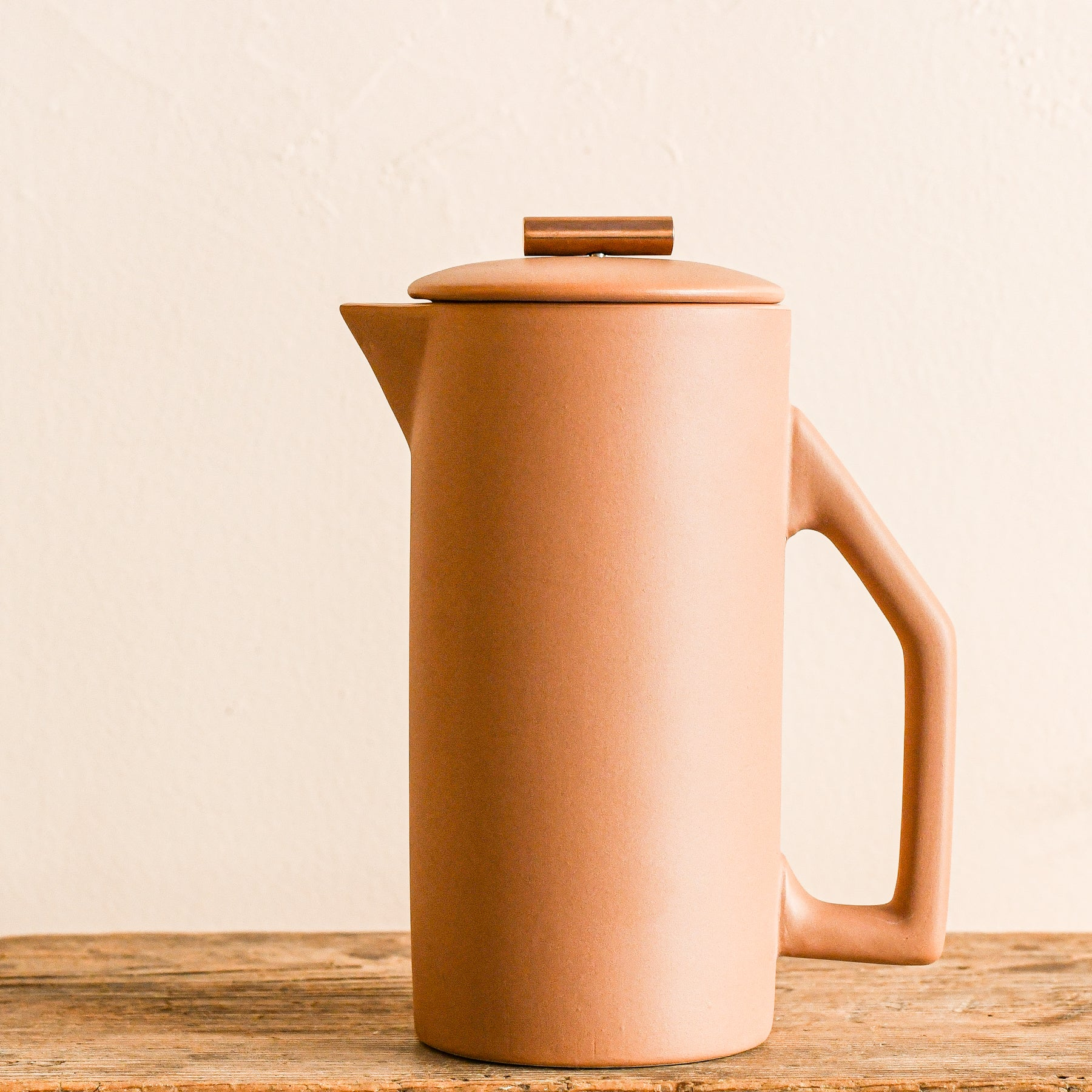ceramic french press with little teak scoop by yewo